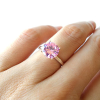 New 2 carat Pink Diamond Engagement Ring, 4 sizes available, Man Made, Wedding ring, Birthstone ring