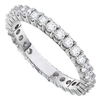 14kt White Gold Womens Round Pave-set Diamond Eternity Wedding Band 2.00 Cttw