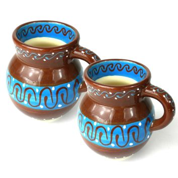 Set of Two Beaker Cups Mugs- Chocolate Mexican Pottery