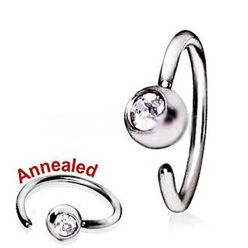 316L Surgical Steel Annealed Press Fit CZ Ball Nose Hoop