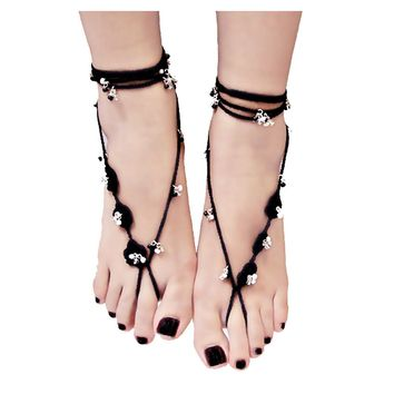Black Soft Floral Crochet Barefoot Sandals