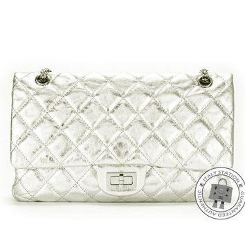 Auth Chanel A37590 Classic 2.55 Aged LARGE Metallic Silver Calfskin Shoulder Bag