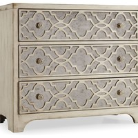 Aristid Fretwork Mirrored Three Drawer Chest - Mediterranean - Accent Chests And Cabinets - by Hooker Furniture