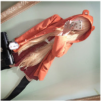 Super Cute Anime Himouto! Umaru-chan Groundhog Hat Hooded Jacket Autumn Thin Coat Orange Outwear