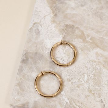 Small Clip On Hoop Earring, Gold