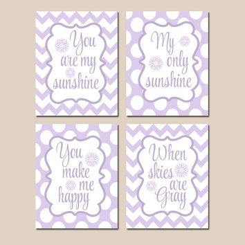 You Are My SUNSHINE Wall Art, Purple Lavender Lilac Nursery, CANVAS or Prints Nursery Rhyme, Baby Song Decor  Set of 4 Girl Bedroom Decor