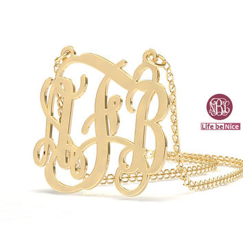1 inch Gold Plated 18k gold initial necklace initial necklace Monogram  Necklace vermeil name Necklace Personalized 940378e9b2f3