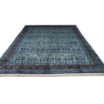 9x12 Overdyed Silver Green Deco Wool Rug 2758