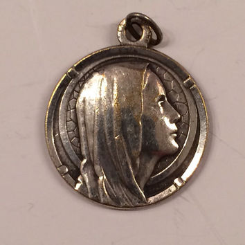 Beautiful Vintage French Medal, Our Lady of Lourdes