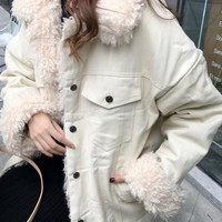 New Beige Fur Buttons Fur Collar V-neck Fashion Outerwear