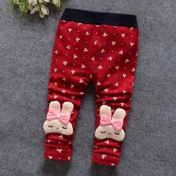 (1piece /lot) 100% cotton 2015 new lace Meng rabbit bow Leggings for baby girl