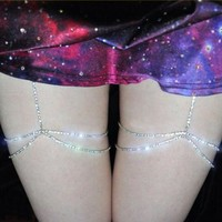 ac PEAPO2Q 2017 Shiny Crystal Leg Chains Rhinestone Thigh High Chain Body Harness Jewelry Sexy Hiphop Rock Clubwear Women Accessories