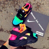 """NIKE""AIR Huarache Trending Women Men Casual Running Sport Casual Shoes Sneakers Colorful black H-AA-SDDSL-KHZHXMKH"