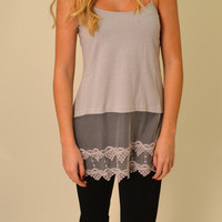 LACE CAMI EXTENDER- GRAY