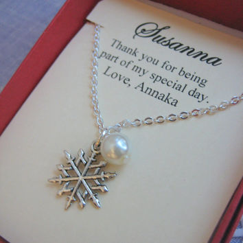 Snowflake, Winter wedding, Ask Bridesmaids Bridal Wedding Gift. Other Color Pearl Available. FREE Notecard Jewelry Box.