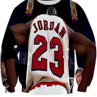 GOAT All Over Print Michael Jordan Chicago Bulls Air Jordan 23 Jordans Jersey Crew Neck Sweatshirt