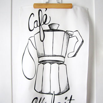 Black & White Kitchen Towel. Cafe au Lait Illustration. Tea Towel. Coffee. French. Dish Towel. Kitchen Decor. Hand Lettering.