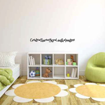 Create Share Play Laugh Imagine Vinyl Wall Words Decal Sticker