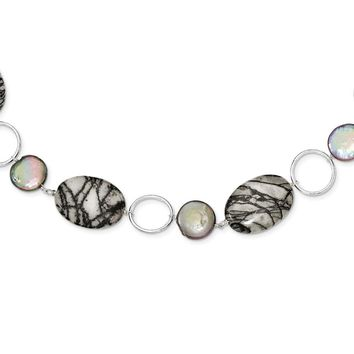 Sterling Silver 16 Inch Circles/Fresh Water Coin Cultured Pearl & Zebra Jasper Necklace