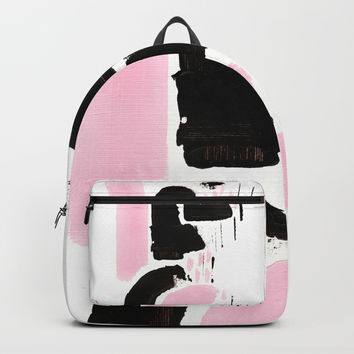 Minimal black & pink 03 Backpack by vivigonzalezart
