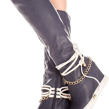 NAVY FAUX LEATHER SIDE TIED LACE GOLD CHAIN ACCENT SIDE ZIPPER KNEE HIGH WEDGE BOOTS