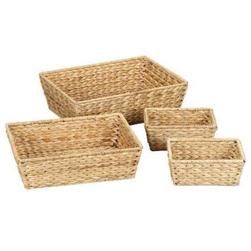 Banana Leaf Wicker Decorative Storage Baskets (Set of 4)