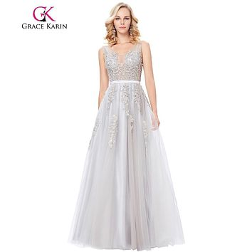 Grace Karin Robe De Soiree Longue Sexy Appliques Tulle Evening Dress Deep V Back Ball Gowns Navy Blue Grey Evening Prom Dresses