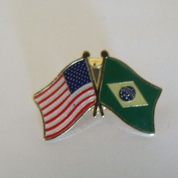 Brasil Flag And USA Lapel Pin Crossed Friendship Pin Brazil