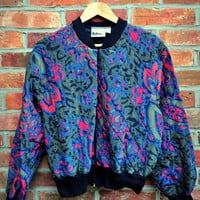 Cryptic Cult — vintage 90's retro print quilted bomber jacket