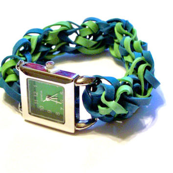Emerald Green Rubber Band Watch - Stretch Band / Stainless Steel Watches - Customize Your Own Watch Band