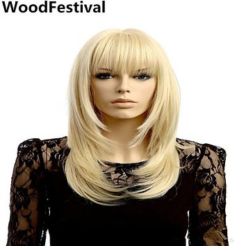 WoodFestival long blonde wig with bangs synthetic wigs women heat resistant fiber cosplay hair