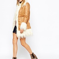 Glamorous | Glamorous Faux Suede Coat with Shearling Collar at ASOS