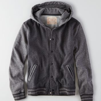 AEO VINTAGE HOODED VARSITY JACKET