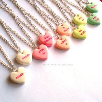 Custom Conversation Heart Necklace Valentines Day Necklace Pink Candy Necklace Kawaii Jewelry Mini Food Jewelry Bye Felicia Pizza Be Mine