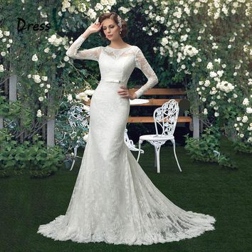 DressV White Vintage Mermaid Lace Wedding Dresses 2017 Scoop Neck Long Sleeves Belt Court Train Button Back Bridal Gowns