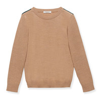 Knit Crewneck Pullover Sweater, Carmel, Size 4-12,
