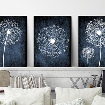DANDELION Wall Art, Navy Bedroom Pictures, Dandelion Art CANVAS or Prints Navy Bathroom Decor, Dorm Room Decor, Set of 3, Navy Home Decor