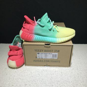 Best Online Sale Kanye West x Adidas Yeezy 350 V2 Boost Multicolor Sport Shoes Colorful Rainbow Running Shoes