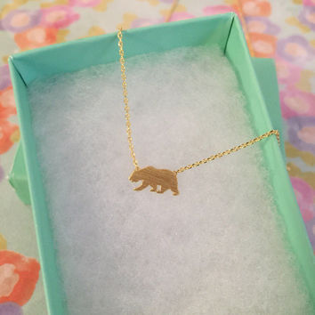 SALE - Gold California Bear Dainty Necklace, Women's Necklace, Danity Necklace, Minimalist Necklace, Bridesmaid Gift, Birthday Gift