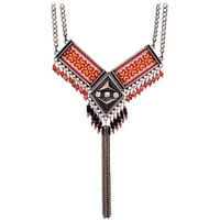 Tribal Vintage Red  Beads Pendant Sequin Chain Tassel Necklace