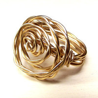 Modern Gold Rosette Ring:  Twisted Wire Wrapped Ring, Bold Wide Band Freeform Rose Ring, Custom Size