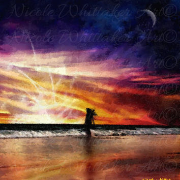 Digital Painting abstract Seascape art print sunset landscape signed art print A2 59 x 42 cm  nature night fantasy