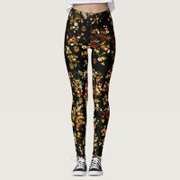 Black Floral Fans Girly Pattern Leggings