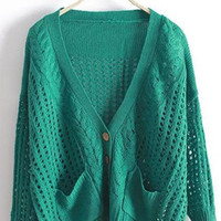 Green V Neck Bat Loose Sweater S000339
