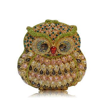 Owl Luxury Crystal Rhinestone Evening Clutch Handbags