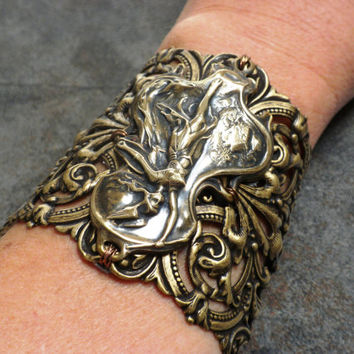 Viking Jewelry Valkyrie Norse Goddess Wide Cuff Bracelet