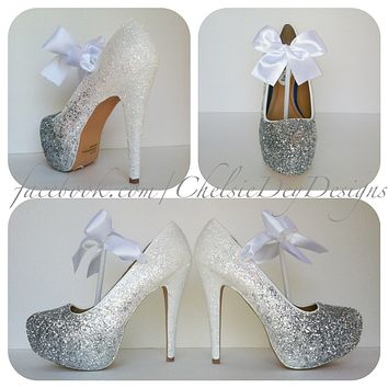 White and Silver Ombre Glitter High Heels, Angel White Wedding Shoes