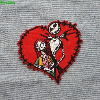 A0183 Patchfan Fashion Patch 20pcs/lot Lover Skellington Nightmare Before Christmas Movie Cartoon Sew Iron on Patch for clothing