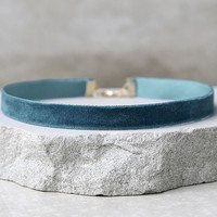 Love Me Forever Teal Blue Velvet Choker Necklace
