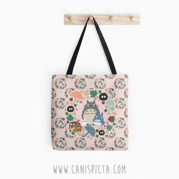 Totoro Tote Bag Kawaii Pink Pastel My Neighbor 13x13 Graphic Anime Soot Sprite Catbus Grey Blue White Pattern Hayao Miyazaki Studio Ghibli